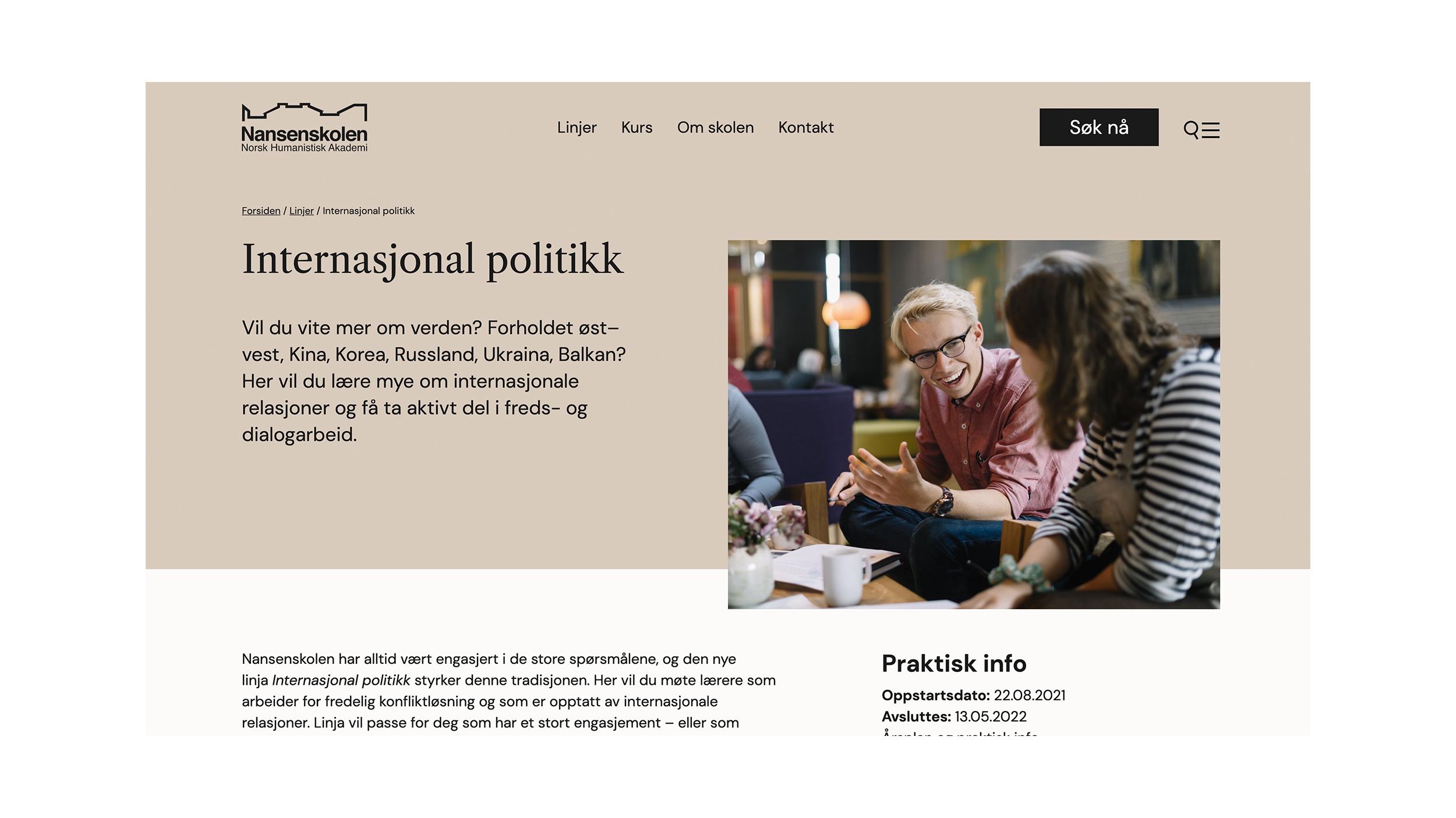 Nansenskolen nettside